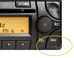 Mercedes BE4715 and BE4716 radio key release holes